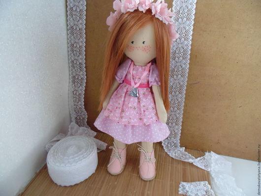 Коллекционные куклы ручной работы. Ярмарка Мастеров - ручная работа. Купить Кукла в розовом платье. Handmade. Розовый, кукла текстильная