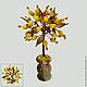 Дерево любви из опала в вазочке из оникса