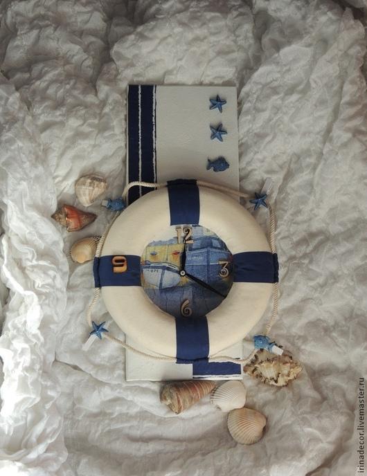 """Часы для дома ручной работы. Ярмарка Мастеров - ручная работа. Купить Часы """"Морские"""". Handmade. Белый, морская тематика"""