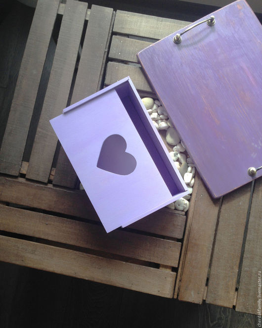 """Корзины, коробы ручной работы. Ярмарка Мастеров - ручная работа. Купить Ящик """"сиреневое сердце"""". Handmade. Сиреневый, упаковка подарочная"""