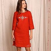 Одежда ручной работы. Ярмарка Мастеров - ручная работа Женская туника-платье в терракотовых тонах с вышивкой. Handmade.