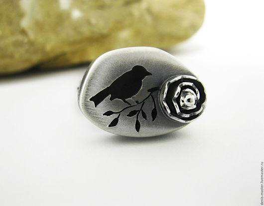 кольца ручной работы, большое кольцо из серебра, Папулова Надежда, kiwi art studio, Ярмарка Мастеров, птичка, птица, серебряная роза
