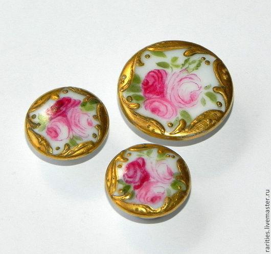 Реставрация. Ярмарка Мастеров - ручная работа. Купить Набор антикварных фарфоровых пуговиц Розы,позолота 14k,Франция,клеймо. Handmade.