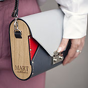 Сумки и аксессуары handmade. Livemaster - original item Leather and wood letter bag grey with red Morocco. Handmade.