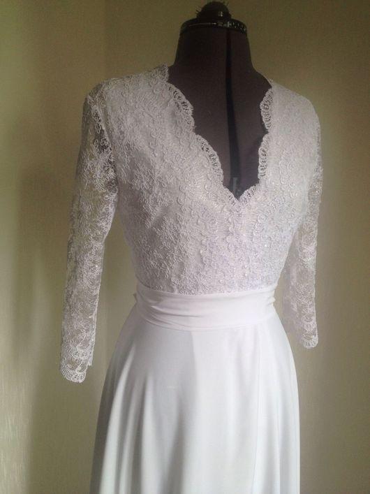 Платья ручной работы. Ярмарка Мастеров - ручная работа. Купить Свадебное платье с кружевом , белое платье, длинное платье. Handmade.