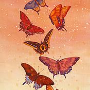 """Аксессуары ручной работы. Ярмарка Мастеров - ручная работа шелковый батик шарф """"Бабочки"""". Handmade."""