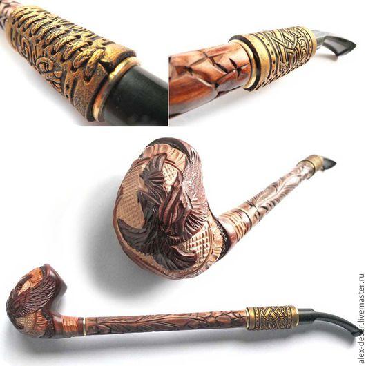 Подарки для мужчин, ручной работы. Ярмарка Мастеров - ручная работа. Купить Курительная трубка с кожей Gusar-711069-T02. Handmade.