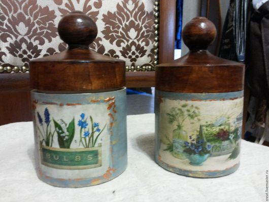 """Кухня ручной работы. Ярмарка Мастеров - ручная работа. Купить набор банок для сыпучих из липы """" прованские травы """". Handmade."""