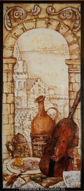 """Натюрморт ручной работы. Ярмарка Мастеров - ручная работа. Купить Кафе """"Сицилия"""". Handmade. Картина, шёлк"""
