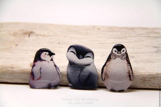 Броши ручной работы. Ярмарка Мастеров - ручная работа. Купить Брошки пингвинчики, совы и звери  :). Handmade. Чёрно-белый