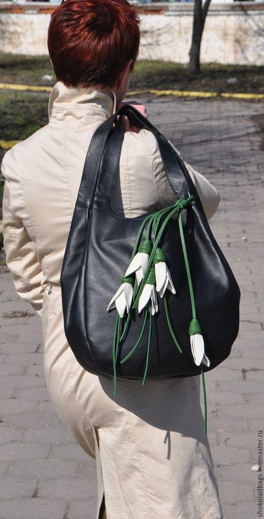 """Женские сумки ручной работы. Ярмарка Мастеров - ручная работа. Купить Кожаная сумка -"""" Валенсия """" ( Подснежники). Handmade."""