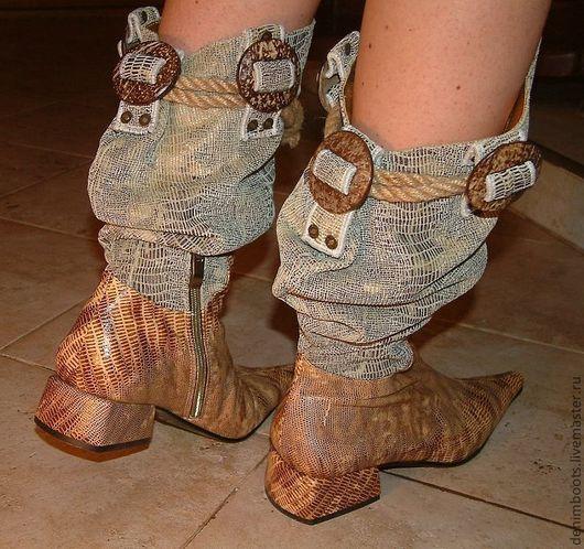 Обувь ручной работы. Ярмарка Мастеров - ручная работа. Купить Сапоги кожа+вельвет. Handmade. Бежевый, вельвет