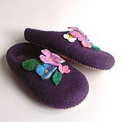 Обувь ручной работы. Ярмарка Мастеров - ручная работа Большие войлочные тапки Фиалки. Handmade.