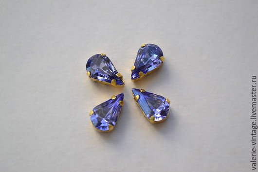 Для украшений ручной работы. Ярмарка Мастеров - ручная работа. Купить Винтажные кристаллы Swarovski 10х6 мм. цвет Tanzanite. Handmade.