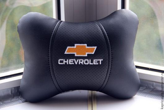 Автомобильные ручной работы. Ярмарка Мастеров - ручная работа. Купить Chevrolet.Ортопедическая подушка из Эко кожи. Handmade. Черный