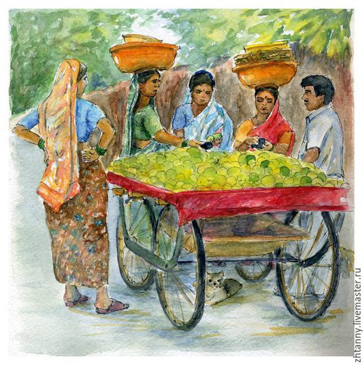 Акварель `Эта загадочная Индия`. Автор Желтышева Татьяна