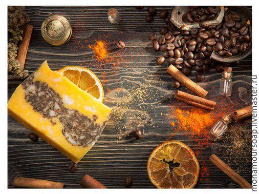 """Мыло ручной работы. Ярмарка Мастеров - ручная работа. Купить Натуральное мыло """"Кофе и апельсин"""". Handmade. Рыжий, Масло облепихи"""