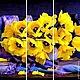 """Картины цветов ручной работы. Ярмарка Мастеров - ручная работа. Купить триптих """"Букет желтых тюльпанов"""". Handmade. Тюльпаны"""