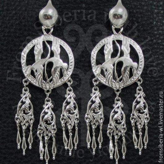 Серьги ручной работы. Ярмарка Мастеров - ручная работа. Купить Серьги с парой танцующих стерхов (1123) серебро 925. Handmade.