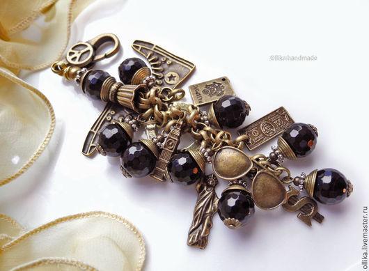Фото Брелок для ключей, Украшение на сумку Туризм как Образ Жизни Черный Агат, Бронза