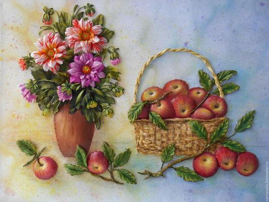 """Картины цветов ручной работы. Ярмарка Мастеров - ручная работа. Купить Натюрморт """" Яблочный Спас"""". Handmade. Комбинированный"""