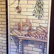 Дизайн и реклама ручной работы. Ярмарка Мастеров - ручная работа Роспись двери в баню:). Handmade.
