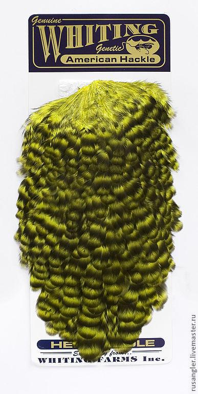Другие виды рукоделия ручной работы. Ярмарка Мастеров - ручная работа. Купить Перья American Hen Saddle Gr/Fl.Yellow Chartreuse (42802144). Handmade.