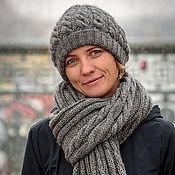 Аксессуары ручной работы. Ярмарка Мастеров - ручная работа Шапка шарф вязаная женская серая Север зимняя. Handmade.