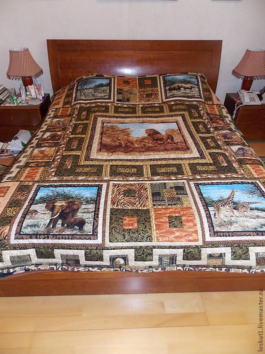 """Текстиль, ковры ручной работы. Ярмарка Мастеров - ручная работа. Купить Покрывало """"Хозяева саванн"""". Handmade. Лоскутное покрывало, львы"""