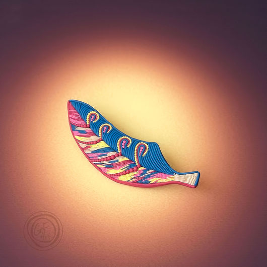Броши ручной работы. Ярмарка Мастеров - ручная работа. Купить Авторская брошь Перо Жар-птицы. Handmade. Gfart