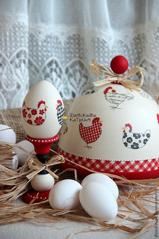 """Подарки на Пасху ручной работы. Ярмарка Мастеров - ручная работа. Купить Набор """"Курочки"""". Handmade. Ярко-красный, пасхальное яйцо"""