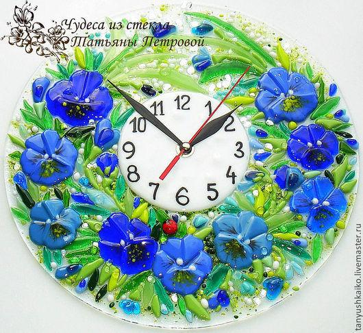 Часы для дома ручной работы. Ярмарка Мастеров - ручная работа. Купить настенные часы из стекла  АНЮТОЧКА, фьюзинг. Handmade. Синий