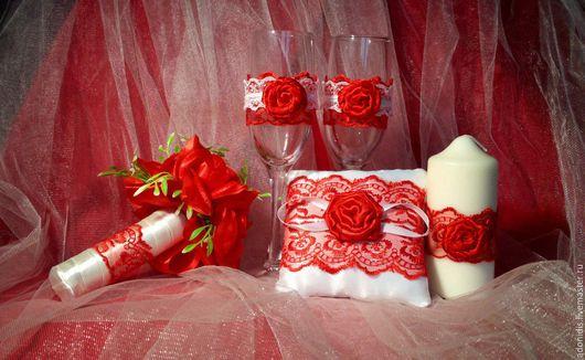 Свадебные аксессуары ручной работы. Ярмарка Мастеров - ручная работа. Купить Свадебный набор. Handmade. Ярко-красный, набор