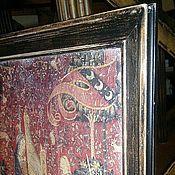 Картины и панно ручной работы. Ярмарка Мастеров - ручная работа Панно на холсте в багете ручной работы Дама с единорогом. Handmade.