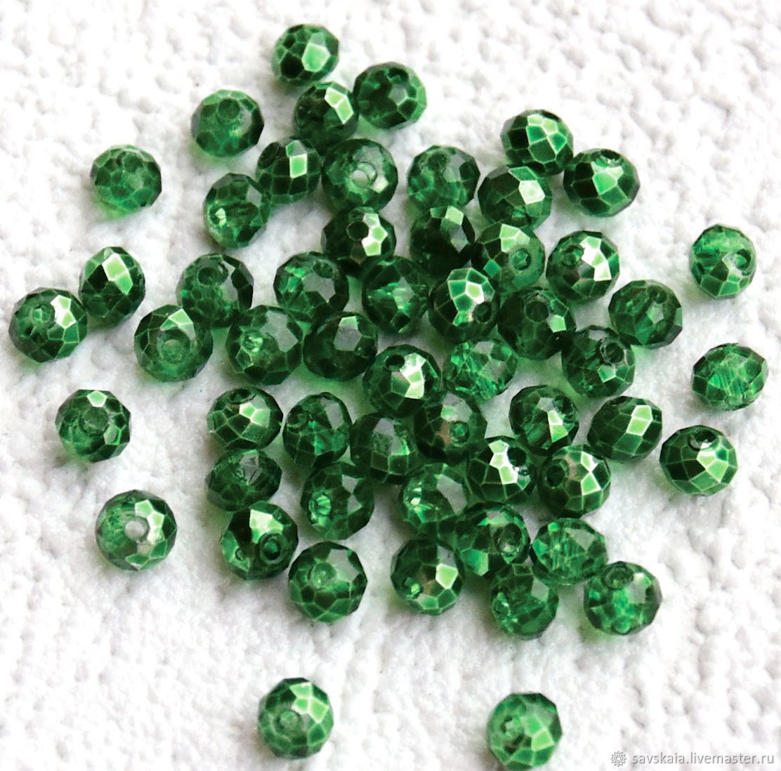 Crystal beads, bright green, transparent, 4h3 mm, Beads1, St. Petersburg,  Фото №1