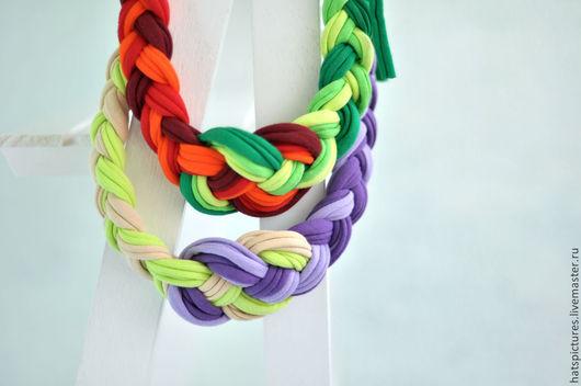 """Колье, бусы ручной работы. Ярмарка Мастеров - ручная работа. Купить """"Контрастные"""" трикотажные украшения на шею. Handmade. Разноцветный, фиолетовый"""