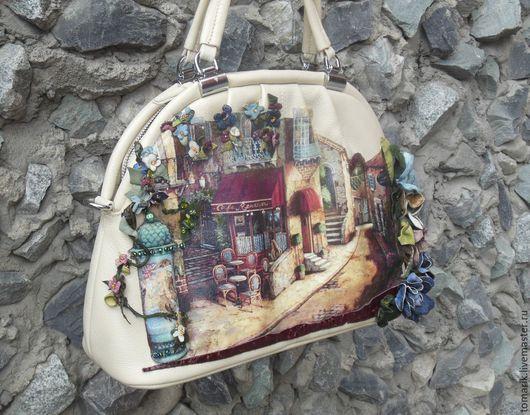 романтичная  женская сумочка,женская сумочка  Cafe Romantique из натуральной кожи