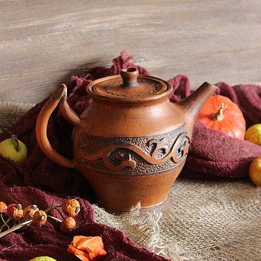 """Посуда ручной работы. Ярмарка Мастеров - ручная работа Глиняный заварник """"Осенний"""".Чайник для заварки. Handmade."""