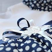 Работы для детей, ручной работы. Ярмарка Мастеров - ручная работа Платье для девочки Синее в горох нарядное. Handmade.