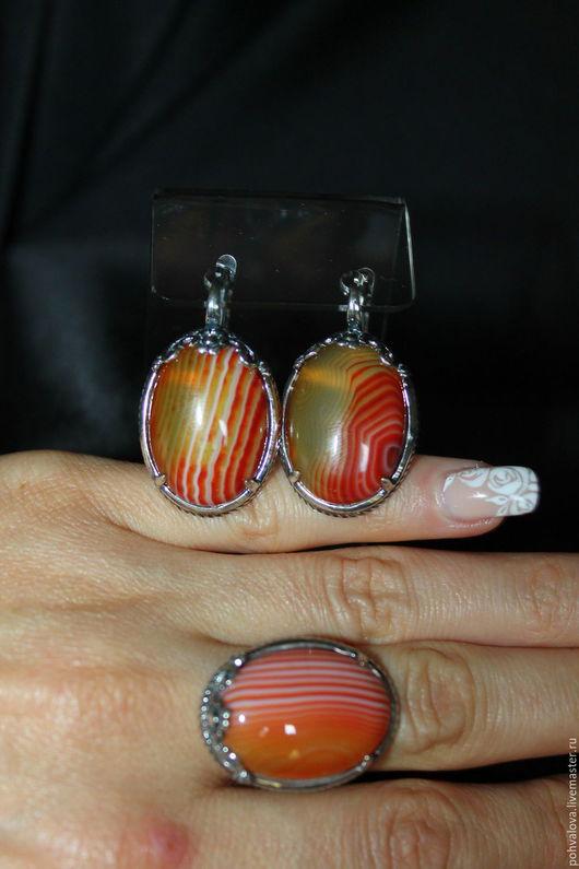 Комплекты украшений ручной работы. Ярмарка Мастеров - ручная работа. Купить 18,5 размер Посеребренные серьги и кольцо из натурального агата. Handmade.