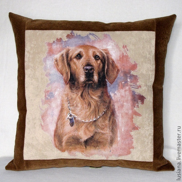 Pillow with dog picture can be ordered in the right size, design and color scheme.\r\psrec manufacture 3-5 days