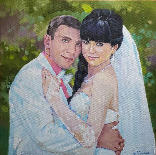 Люди, ручной работы. Ярмарка Мастеров - ручная работа. Купить Портрет двоих на заказ маслом на холсте, портрет по фото, на стену. Handmade.