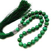 """Фен-шуй и эзотерика ручной работы. Ярмарка Мастеров - ручная работа Четки из иранской бирюзы """"Навстречу жизни""""  зеленые 33 камня с кистью. Handmade."""