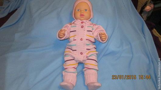 Для новорожденных, ручной работы. Ярмарка Мастеров - ручная работа. Купить Комплект для малышки Веселые полоски. Handmade. Розовый