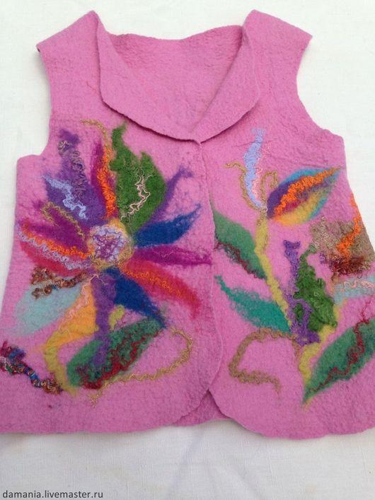 Одежда для девочек, ручной работы. Ярмарка Мастеров - ручная работа. Купить Валяный детский жилет Цветик-семицветик. Handmade. Розовый