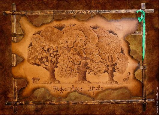 Пейзаж ручной работы. Ярмарка Мастеров - ручная работа. Купить Родословное древо на коже. Handmade. Коричневый, панно из кожи