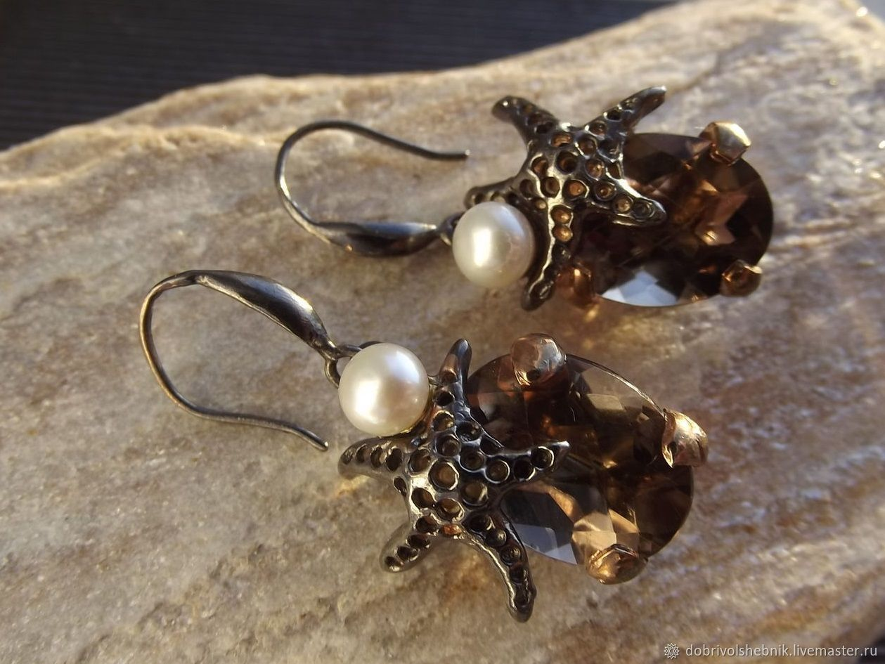 Earrings Sea star with Topaz and pearls, Earrings, Novaya Usman,  Фото №1