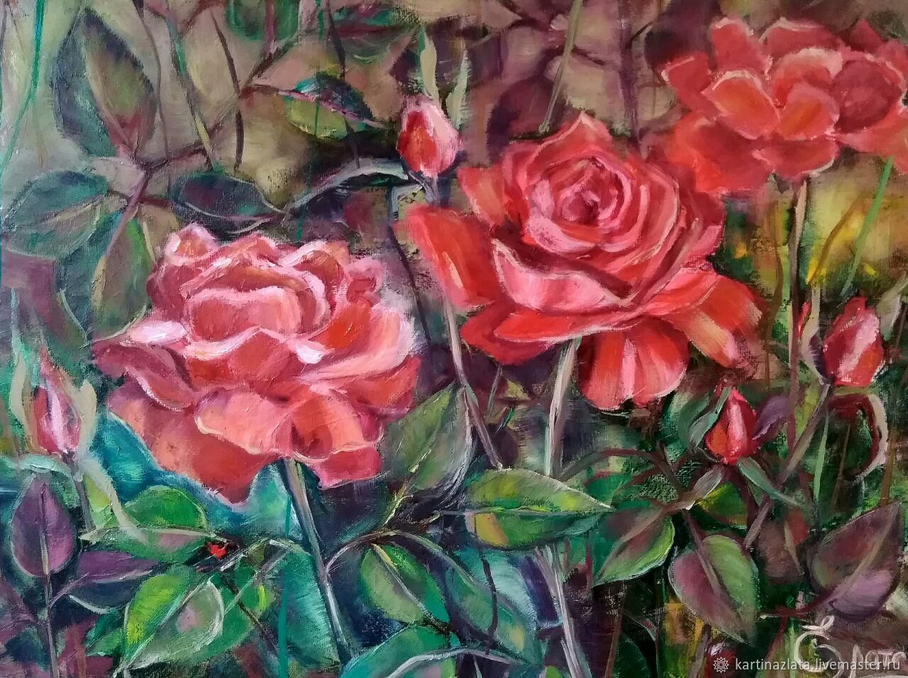 Scarlet roses oil painting on canvas with stretcher, Pictures, Azov, Фото №1