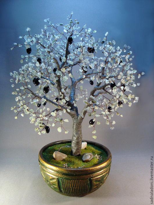 Дерево оливковое из натуральных камней `Амфисса`. Авторский дизайн. Единственный экземпляр. Агатовая свадьба. Дерево счастья. Сад на ладони. Ярмарка мастеров.