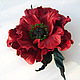 the decoration of leather brooch, brooch flower hair clip, hair clip flower   red flower brooch  red flower poppy brooch, brooch barrette poppy   colors from leather poppy   pin scarlet poppy, artific
